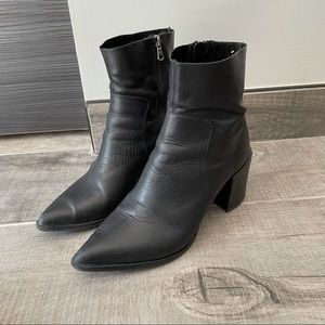 Napoleoni Italian leather pointy toe boots